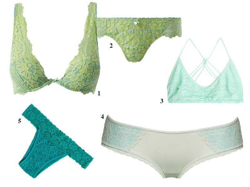 1. Intimissimi, R$ 159. 2. Intimissimi, R$ 69. 3. Dress To, R$ 79. 4. Darling, R$ 92. 5. Hope, R$ 34 (Foto: Divulgação)
