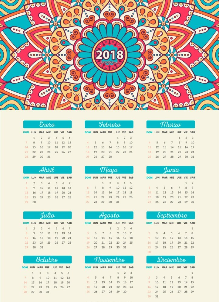 Calendario 2018 para Imprimir (Anual, Mensual, Escolar, Infantil y