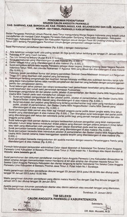 Pendaftaran Cpns Surabaya 2013 Lowongan Cpns Bnn Badan Narkotika Nasional Terbaru Pengumuman Pendaftaran Seleksi Calon Anggota Panwaslu Jawa Timur