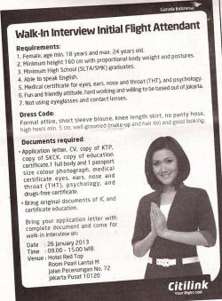 Lowongan Kerja PT Citilink Indonesia – Rekrutmen Pramugari