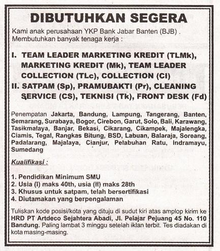 Lowongan Kerja Hrd 2013 Bandung Lowongan Kerja Pt Djarum Loker Cpns Bumn Lowongan Kerja Pt Artdeco Sejahtera Abadi Bank Bjb Group Terbaru