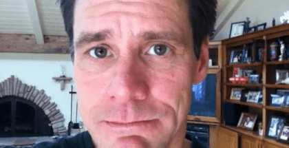 "Jim Carrey's newest publicity stunt: Quivering lip and whispers of ""I love you"" to Emma Stone"