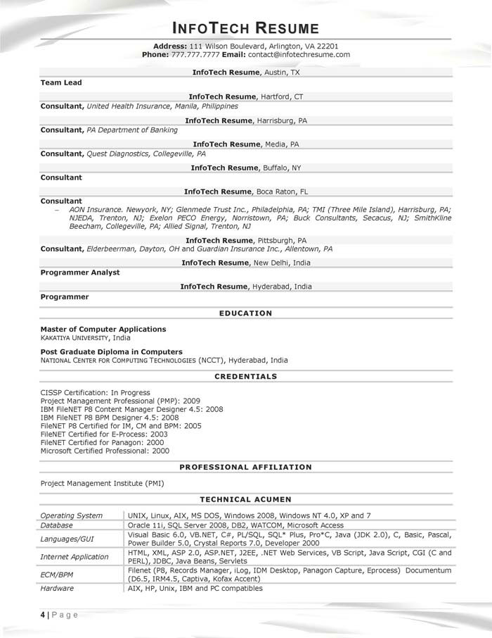 IT Resume Samples - InfotechResume