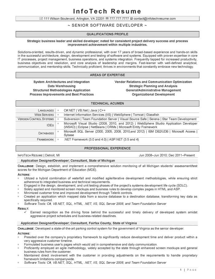 IT Resume Samples - InfotechResume - senior developer resume