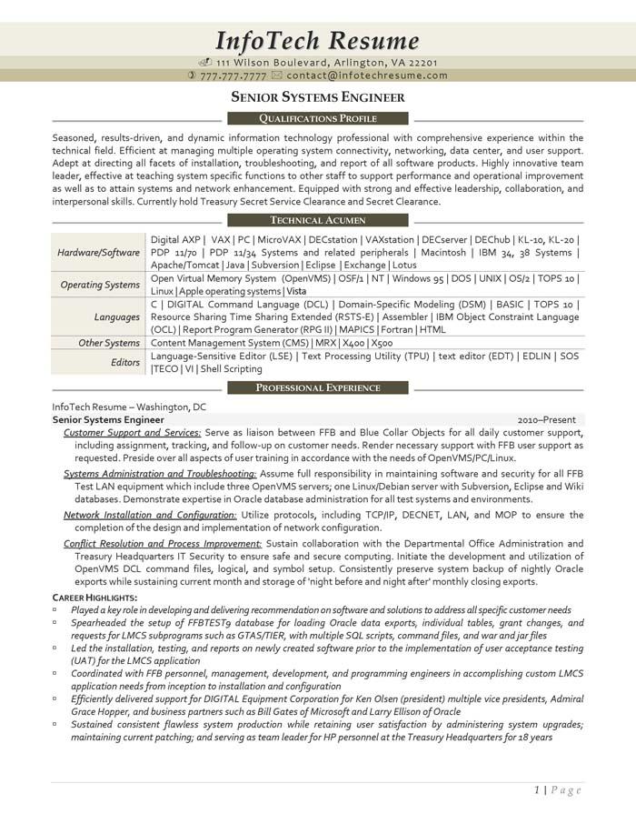 IT Resume Samples - InfotechResume - principal engineer sample resume
