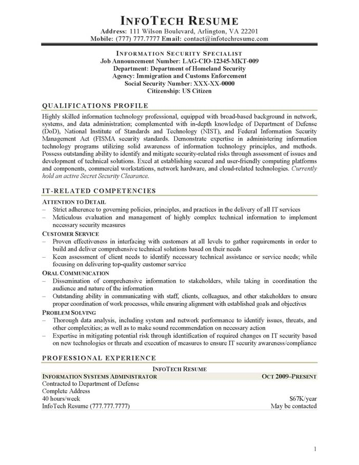 IT Resume Samples - InfotechResume - information management officer sample resume