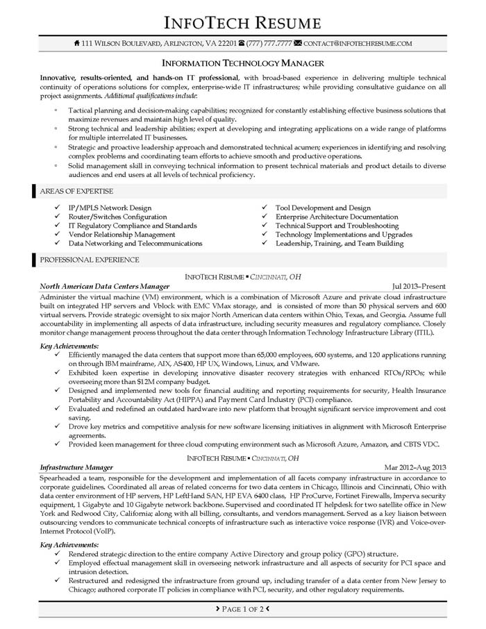 IT Resume Samples - InfotechResume - sample technology manager resume