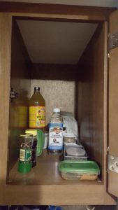 One of two kitchen cabinets in my RV. No shelf!