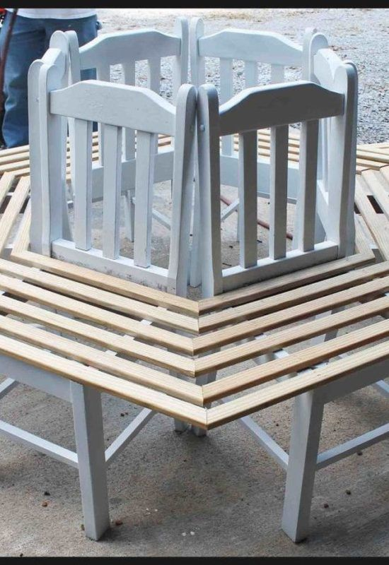 How To Make A Tree Bench Made From Kitchen Chairs
