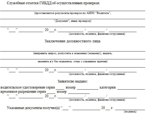 заявление о выдаче водительского удостоверения образец