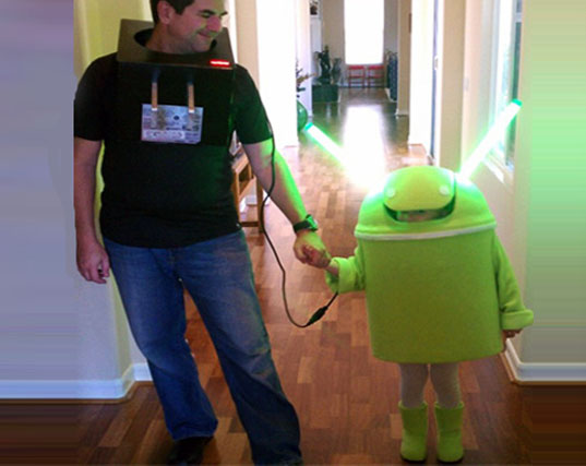 Adorable Android And Charger Diy Halloween Costume Lights