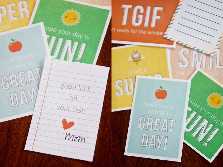 12 sets of cheerful (and free!) printable lunchbox notes to brighten