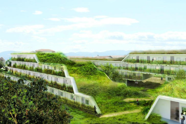 Off Architecture39s Terraced Green Roofed Apartments To Add