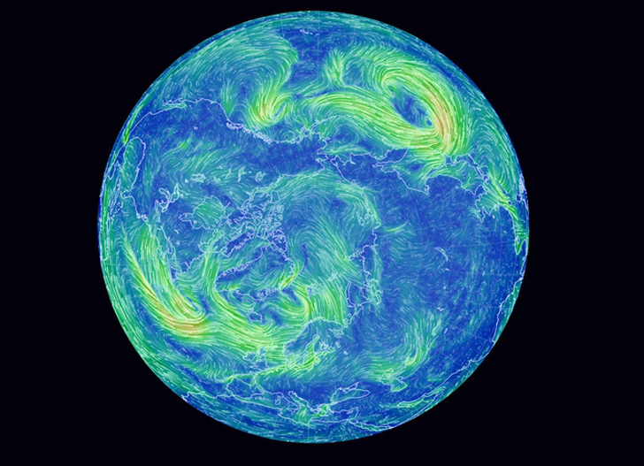 Mesmerizing Earth Wind Map Shows Real-Time Wind Conditions Around