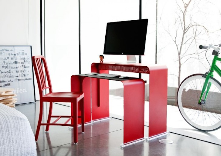 The beautiful and ergonomic OneLess Desk nests together to help save