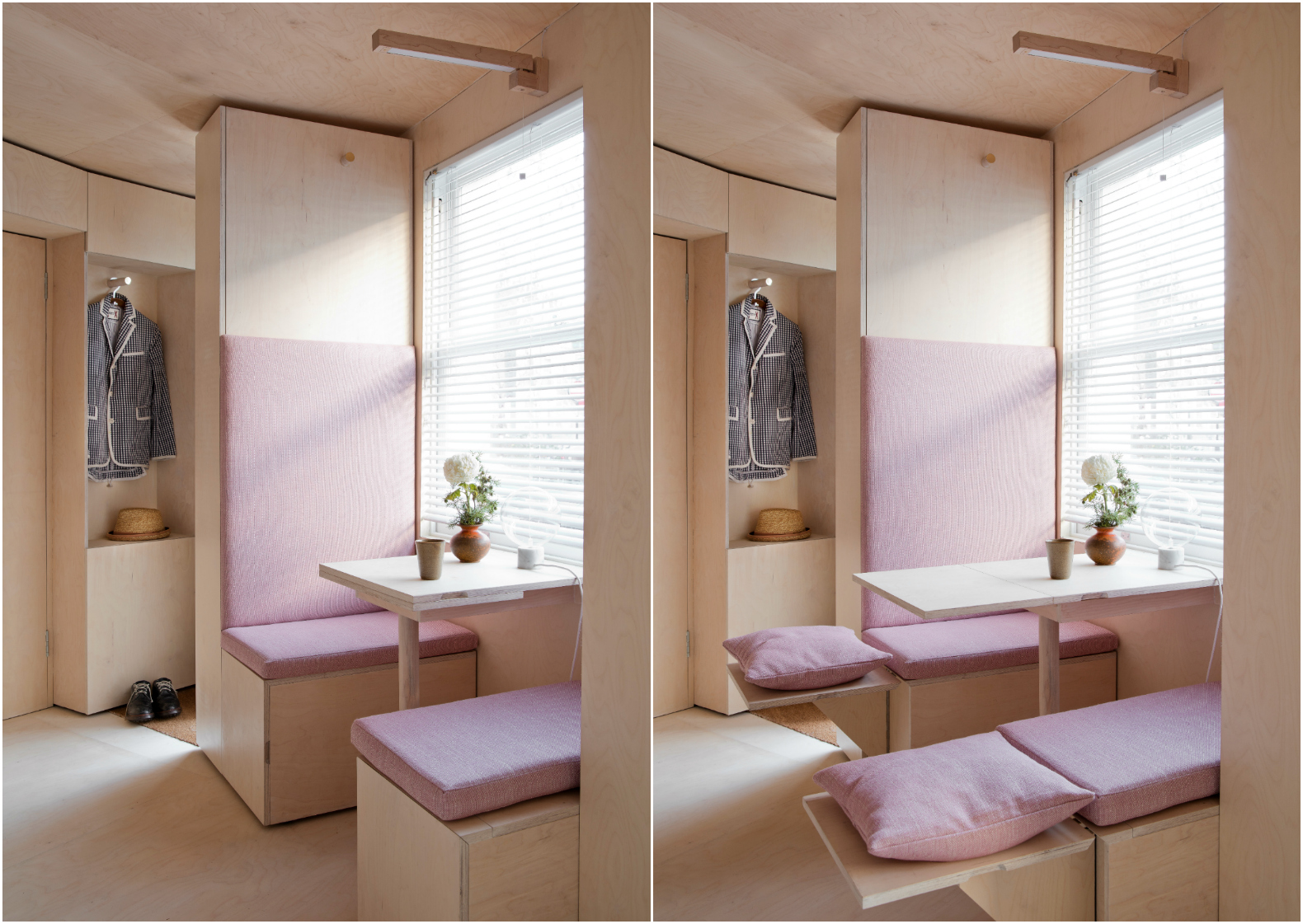Plywood Furniture London S Smallest House Uses Flexible Plywood Furniture To