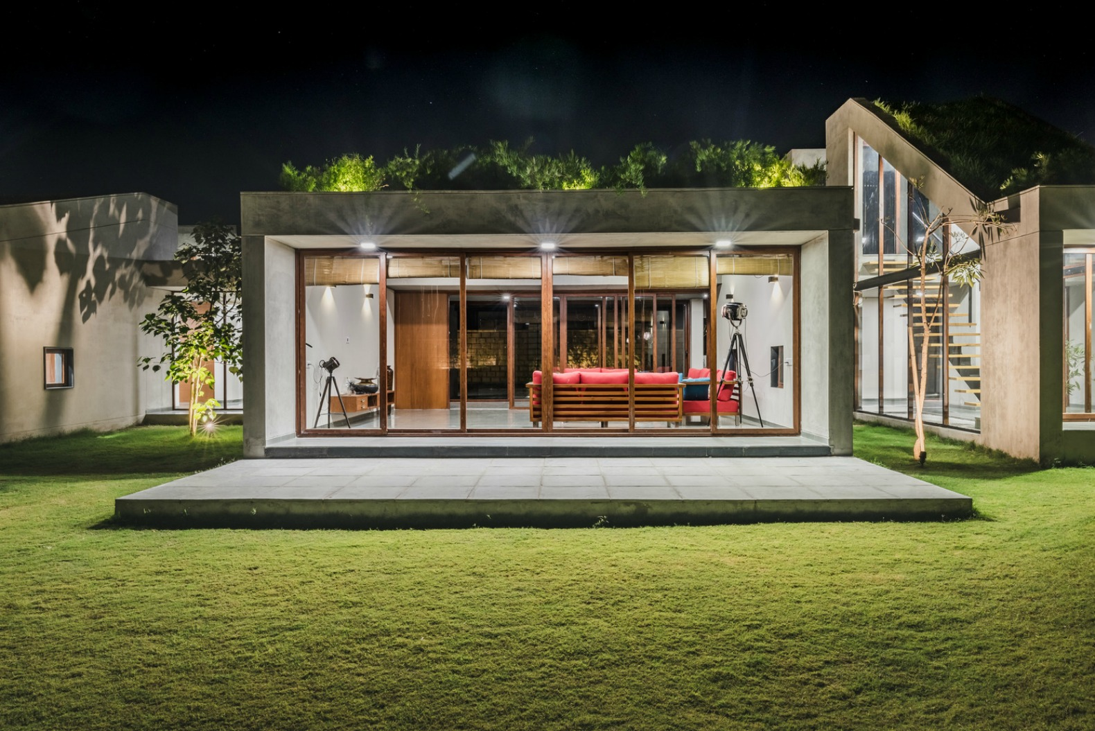 Home Design Of India Stunning Home In India Blends Into The Earth With Segmented Green