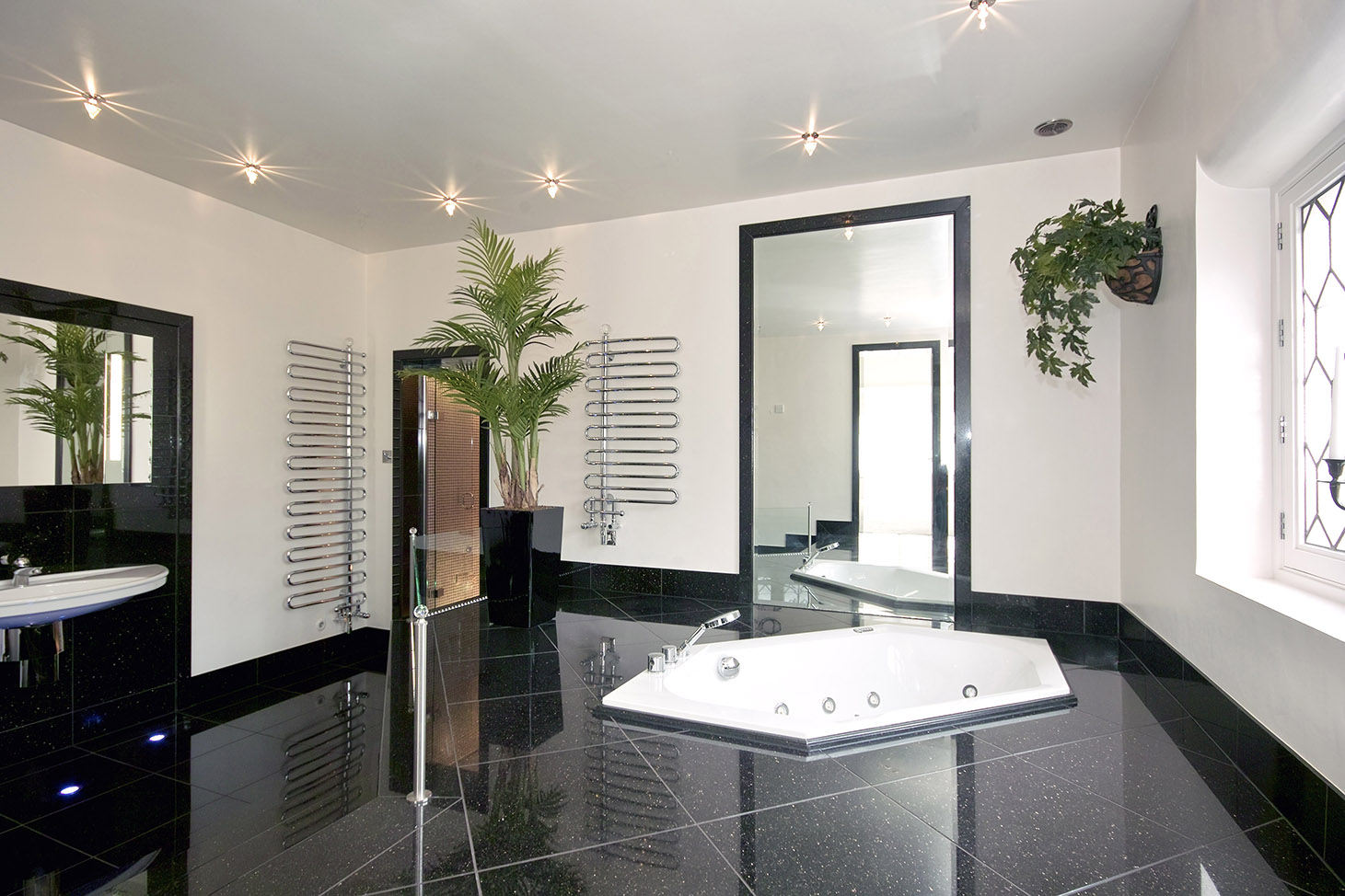 Black Tiled Bathroom Black Tiled Bathroom With Sunken Bath Kitchen And