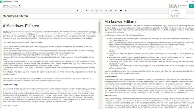 Markdown-Editoren: Laverna