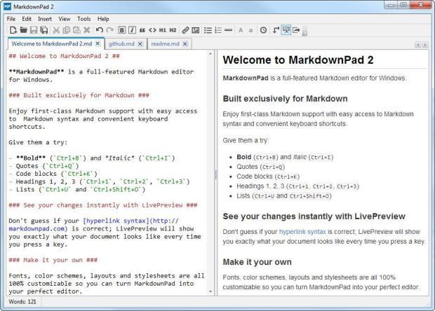 Markdown-Editoren: MarkdownPad2 (Source: MarkdownPad)
