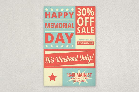 Retro Memorial Day Flyer Template Inkd