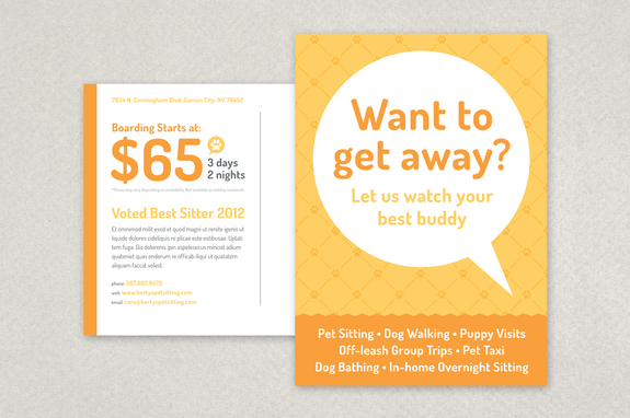 Pet Sitting Postcard Template Inkd