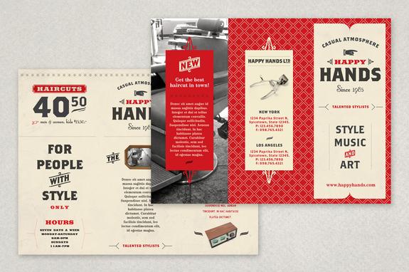 Retro Barbershop Brochure Template Inkd