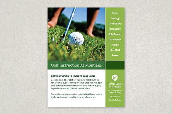 Golf Instruction Grid Flyer Template Inkd