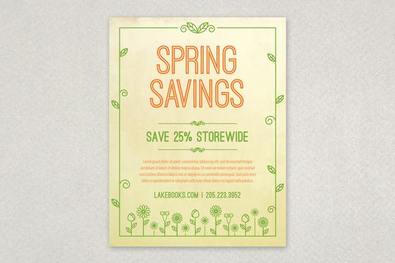 Spring Illustration Flyer Design Template Inkd