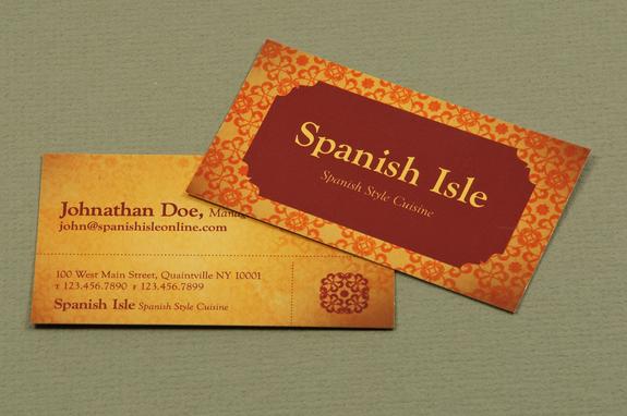 Spanish Restaurant Business Card Template Inkd