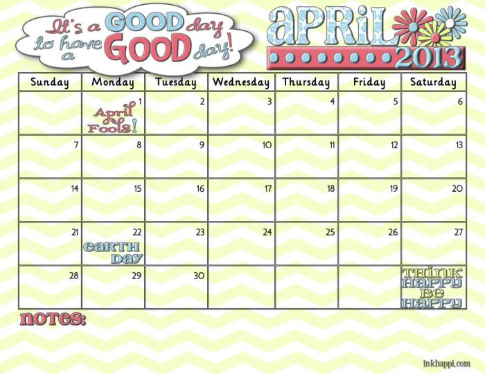 It\u0027s Your April 2013 Calendar! - inkhappi