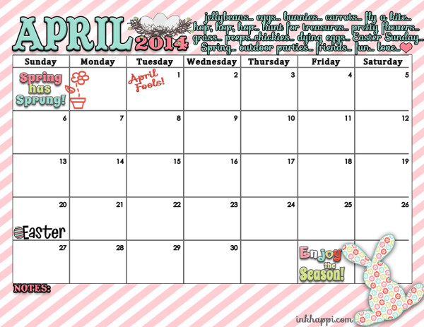 April Calendar and Spring print is Here! - inkhappi
