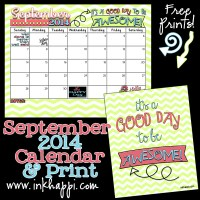 September 2014 Calendar ...Its a good day to be Awesome!