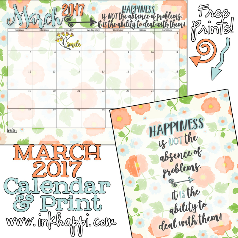 Free printables March 2017 Calendar and coordinating print