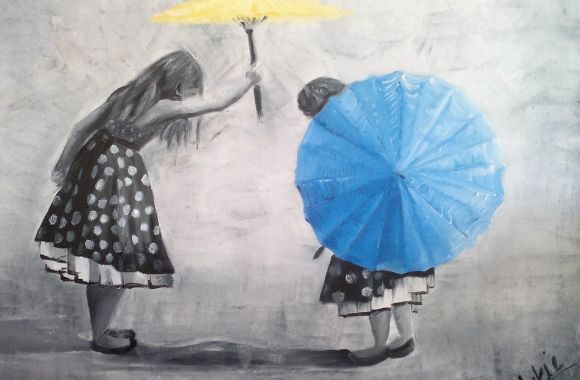 Girls with umbrellas