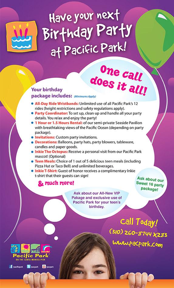 birthday parties Inkie\u0027s Ink - party rental flyer