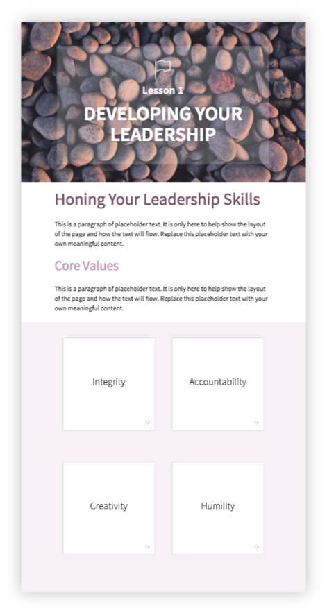 Training guide template for self-paced learning Inkling