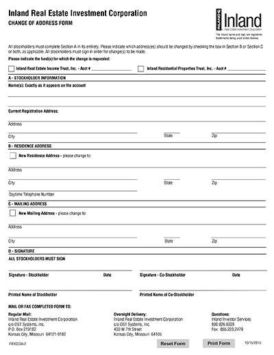 Free Change Of Address Form madebyrichard - Printable Address Change Form