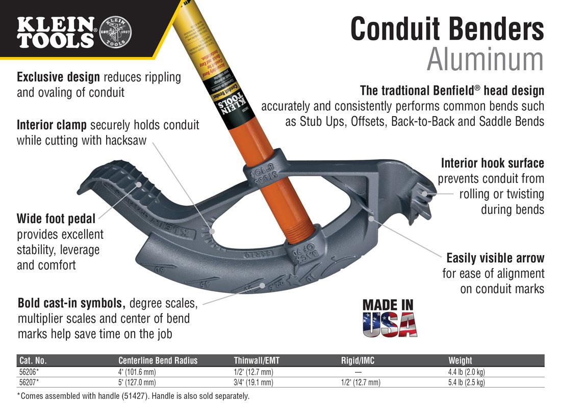 Klein Tools 1/2 in. Aluminum Conduit Bender and Handle