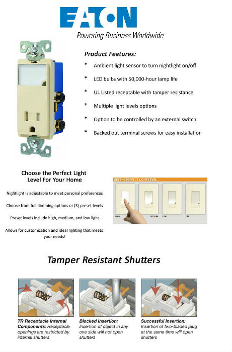Eaton 3-Wire Receptacle Combo Nightlight with Double-Pole Tamper