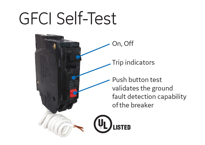 GE 20 Amp Single Pole Ground Fault Breaker with Self-Test