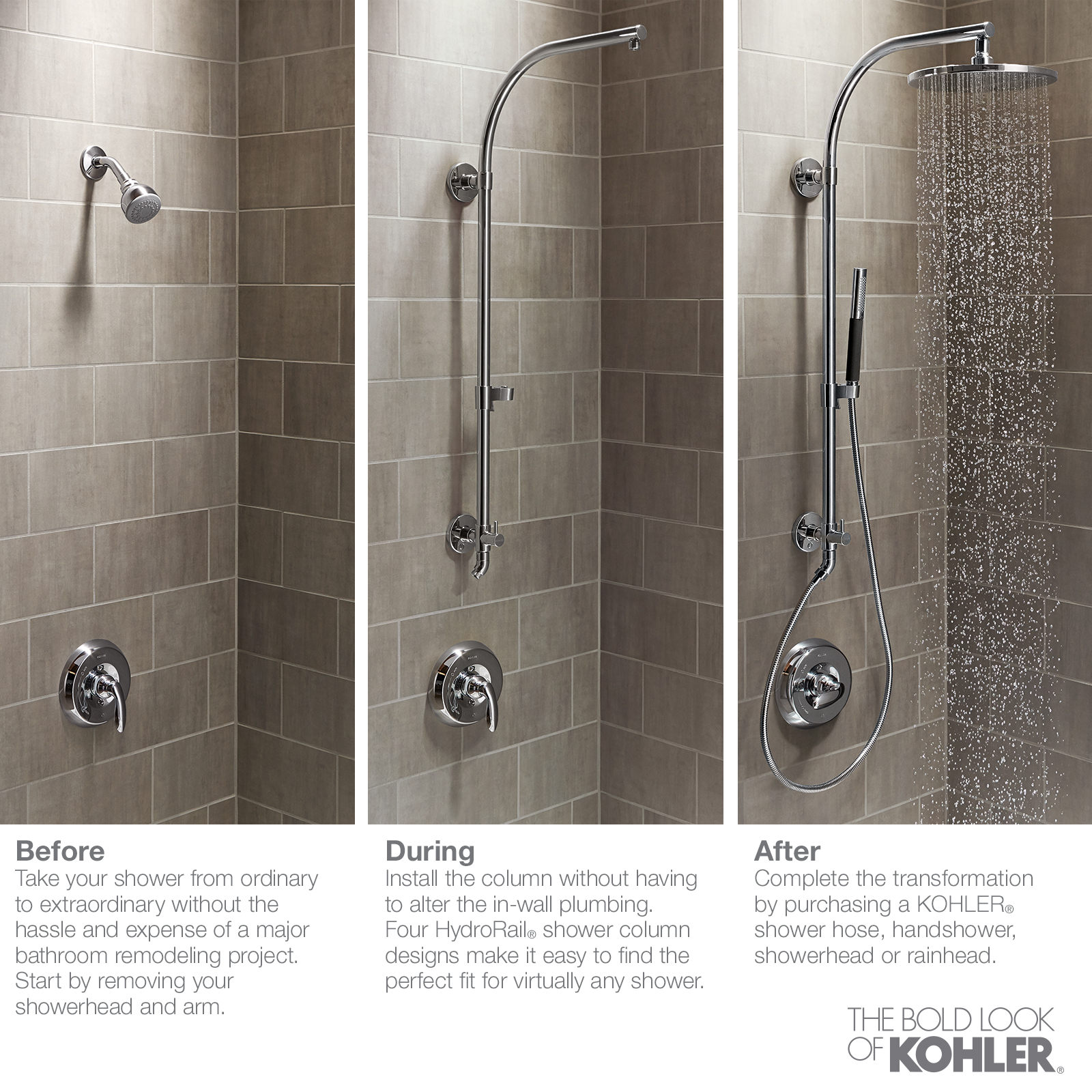 Bathroom Kohler Kohler Hydrorail S Shower Column In Brushed Nickel