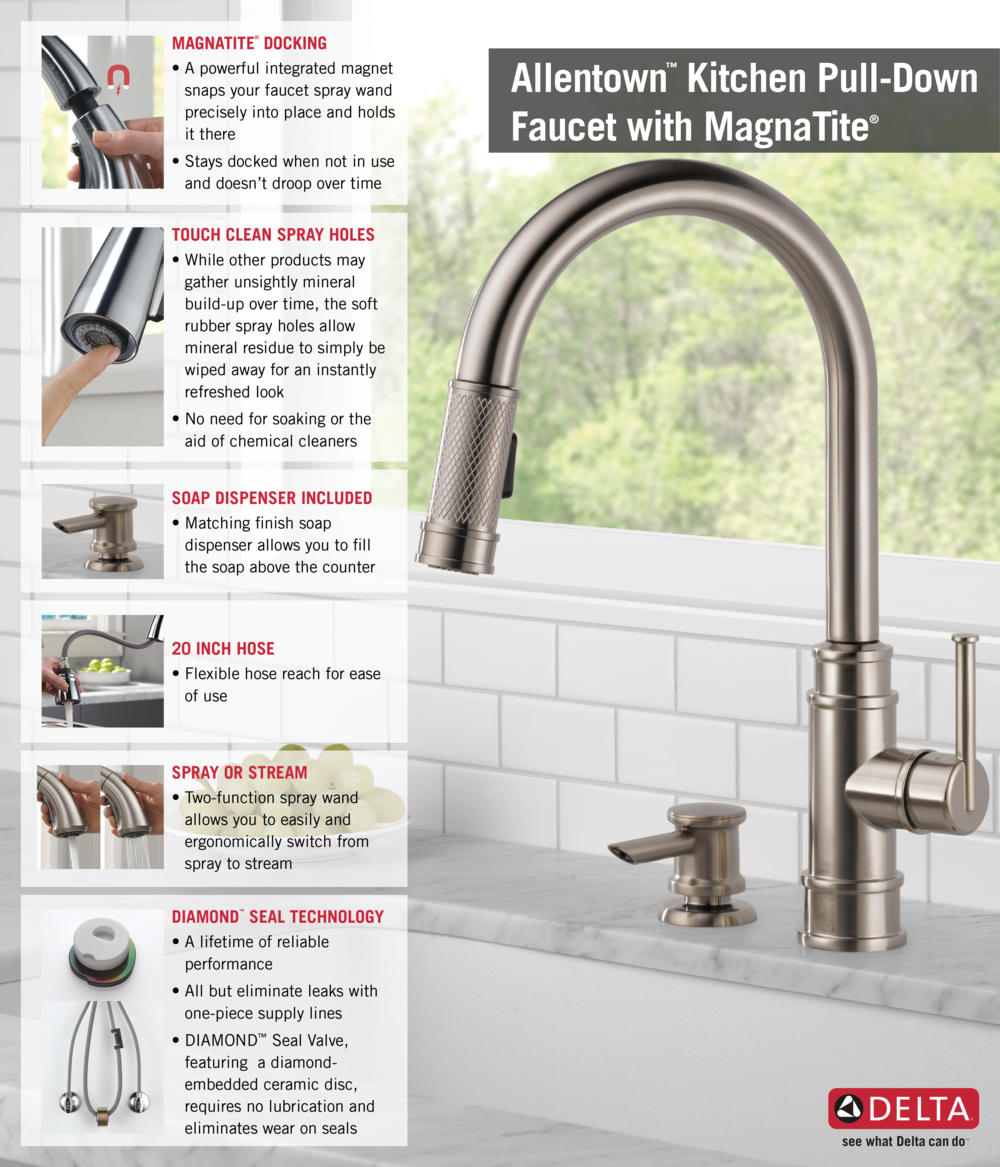 delta kitchen faucets Home Depot Delta Faucet Pull Down with Soap Dispenser Kitchen Infographic