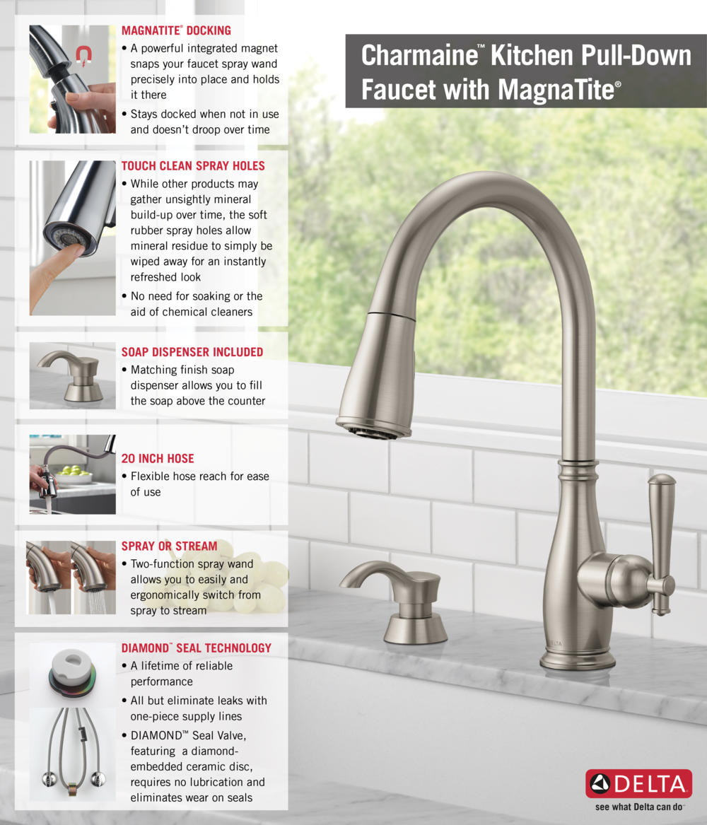 MERCH REC PIPHorizontal1 rr N delta cassidy kitchen faucet Home Depot Delta Faucet Pull Down with Soap Dispenser Kitchen Infographic