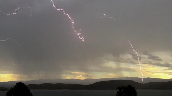 Lightening over Topaz Lake