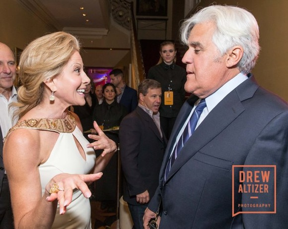 ATHERTON, CA - February 6 - Jillian Manus and Jay Leno attend The Giving Back Fund's Big Game Big Give - Super Bowl L February 6th 2016 at Private Residence, . bbrand@givingback.org in Atherton, CA (Photo Credit: Claudine Gossett for Drew Altizer Photography for Drew Altizer Photography)