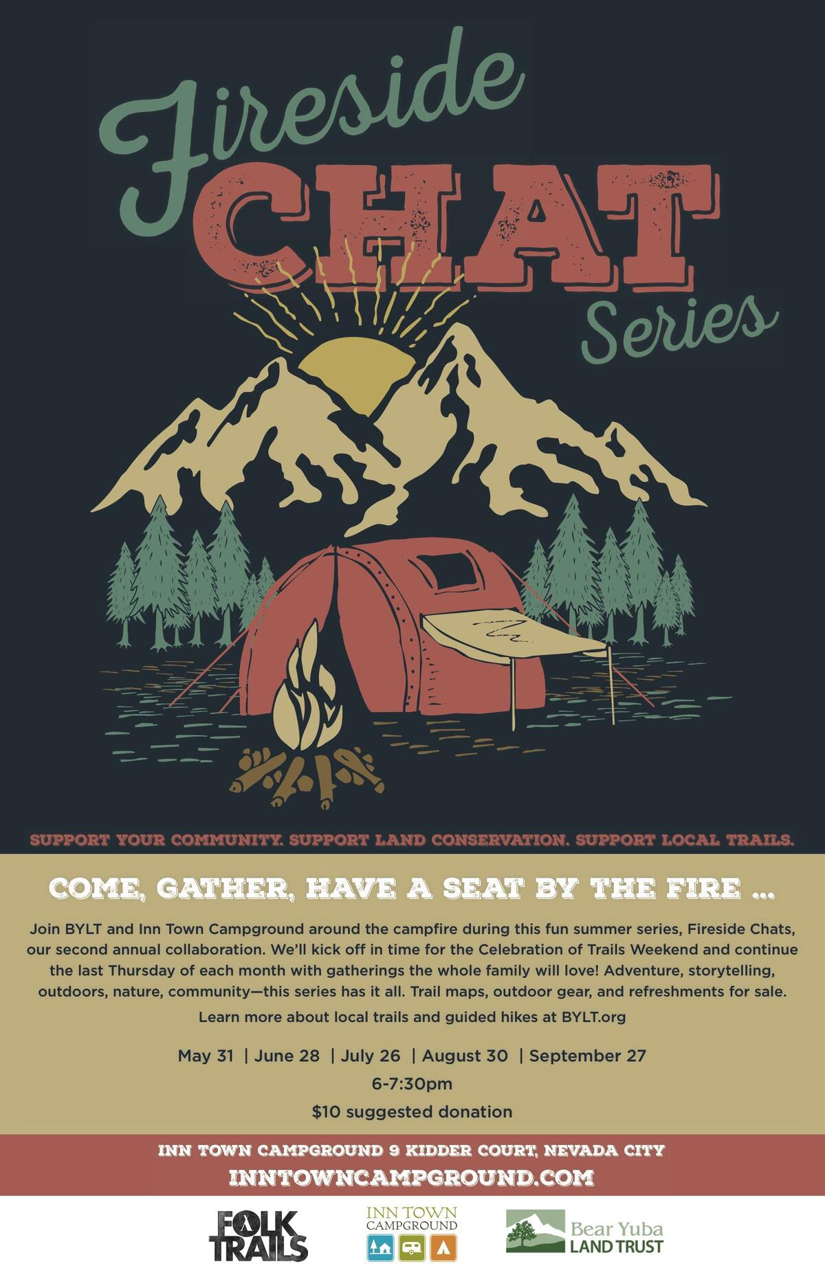 Poster Chat Campfire Chat Poster 11x17 Inn Town Campground