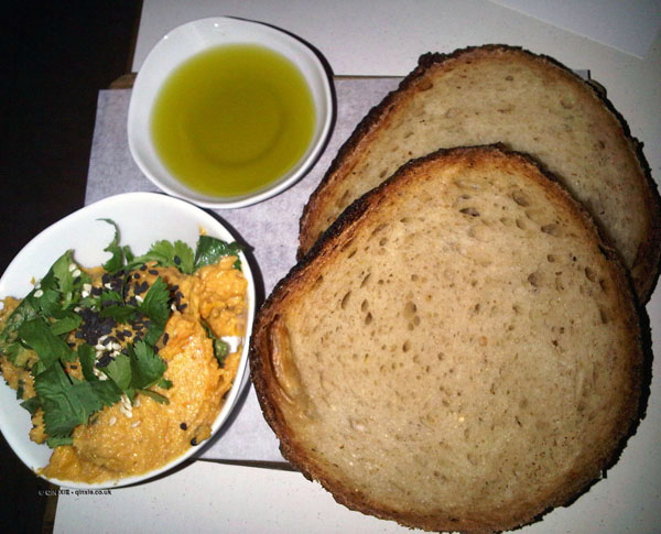 Bread, butternut squash dip and olive oil at Nopi