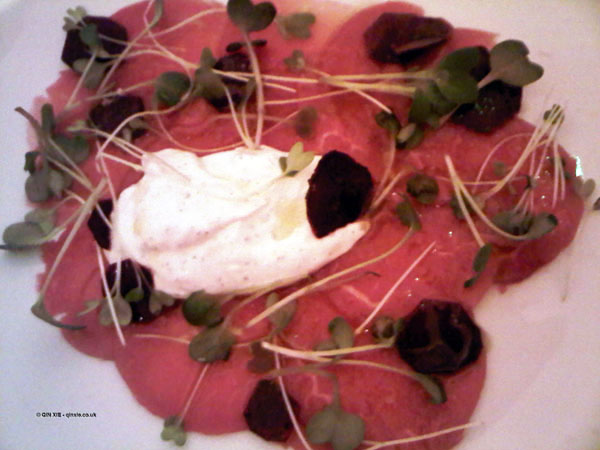 Rose veal carpaccio, beetroot, kashk at Nopi