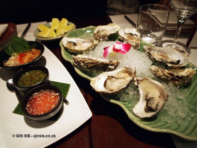 Shucked oysters with Thai vinaigrettes at Patara, Greek Street
